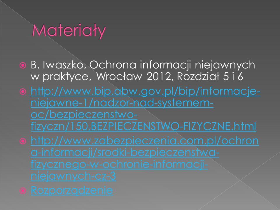  B. Iwaszko, Ochrona informacji niejawnych w praktyce, Wrocław 2012, Rozdział 5 i 6  http://www.bip.abw.gov.pl/bip/informacje- niejawne-1/nadzor-nad