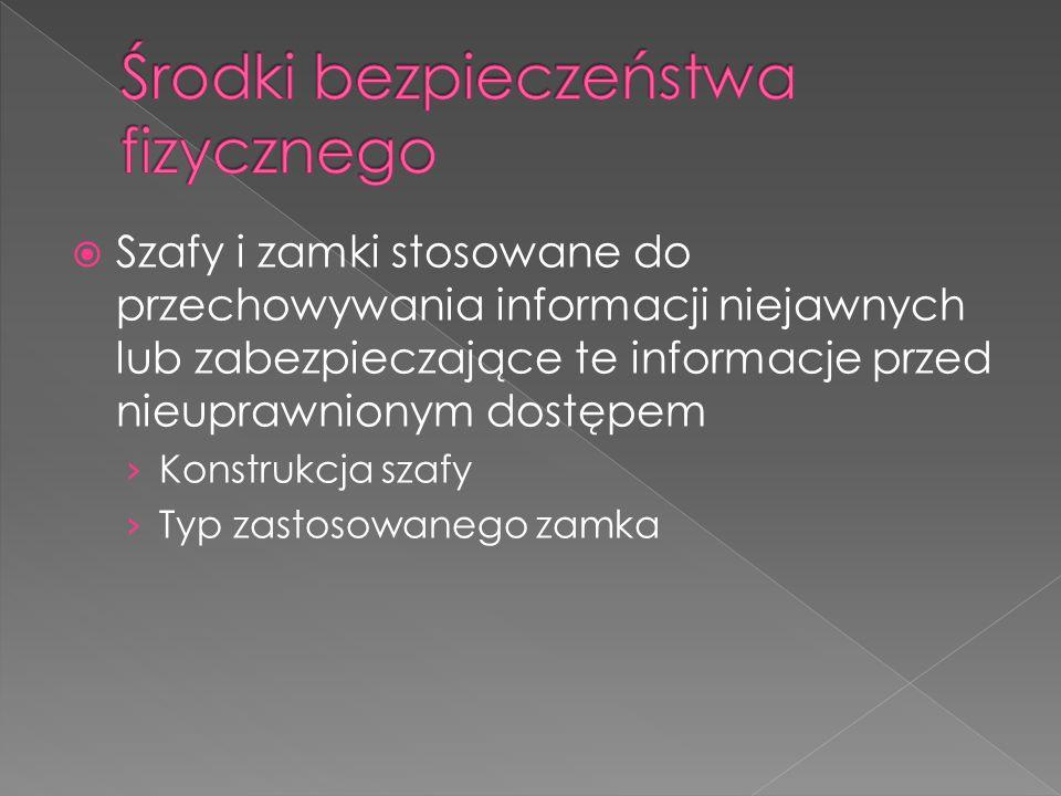  Szafy i zamki stosowane do przechowywania informacji niejawnych lub zabezpieczające te informacje przed nieuprawnionym dostępem › Konstrukcja szafy