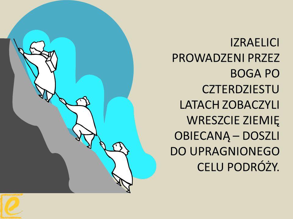 IZRAELICI PROWADZENI PRZEZ BOGA PO CZTERDZIESTU LATACH ZOBACZYLI WRESZCIE ZIEMIĘ OBIECANĄ – DOSZLI DO UPRAGNIONEGO CELU PODRÓŻY.