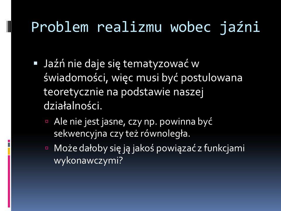 Problem realizmu wobec jaźni  Jaźń nie daje się tematyzować w świadomości, więc musi być postulowana teoretycznie na podstawie naszej działalności.