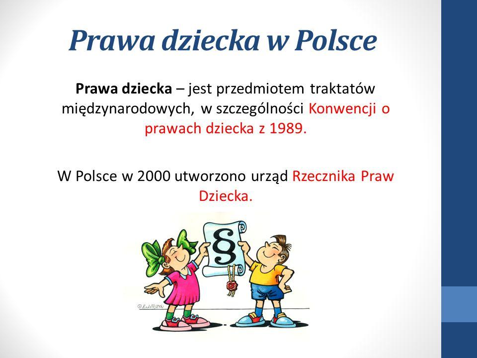 Prawa dziecka w Polsce W Polsce najważniejszymi aktami prawnymi, gwarantującymi prawa dziecka są: Konstytucja RP Konwencja o Prawach Dziecka Ustawa o Rzeczniku Praw Dziecka Prawa socjalne dziecka: prawo do zabezpieczenia socjalnego prawo do możliwie najwyższego poziomu ochrony zdrowia, prawo do odpowiedniego standardu życia prawo do wypoczynku, czasu wolnego, rozrywki i zabawy,