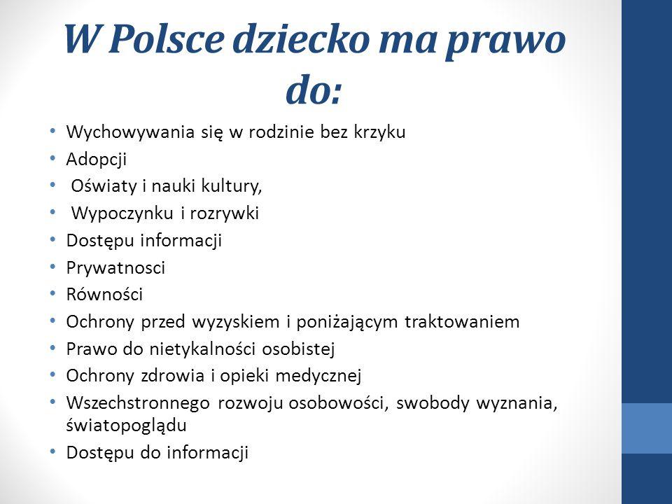 W Polsce dziecko ma prawo do: Wychowywania się w rodzinie bez krzyku Adopcji Oświaty i nauki kultury, Wypoczynku i rozrywki Dostępu informacji Prywatn