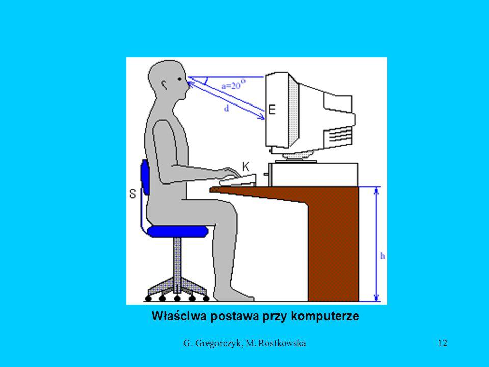 G. Gregorczyk, M. Rostkowska12 Właściwa postawa przy komputerze