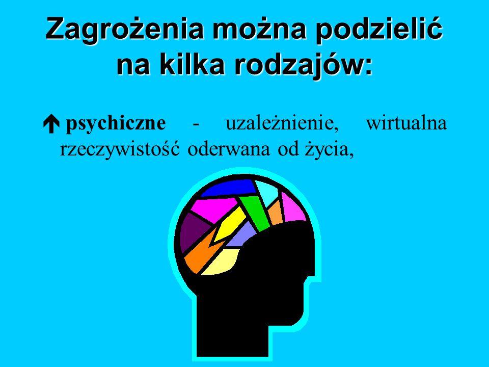 Zagrożenia można podzielić na kilka rodzajów: é psychiczne - uzależnienie, wirtualna rzeczywistość oderwana od życia,