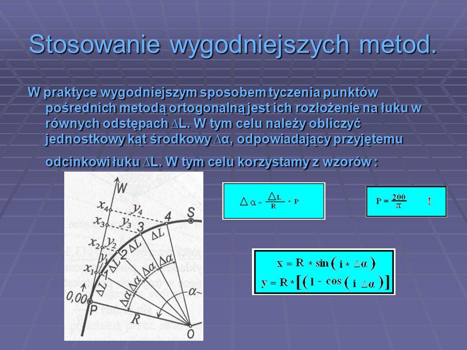 Stosowanie wygodniejszych metod. W praktyce wygodniejszym sposobem tyczenia punktów pośrednich metodą ortogonalną jest ich rozłożenie na łuku w równyc