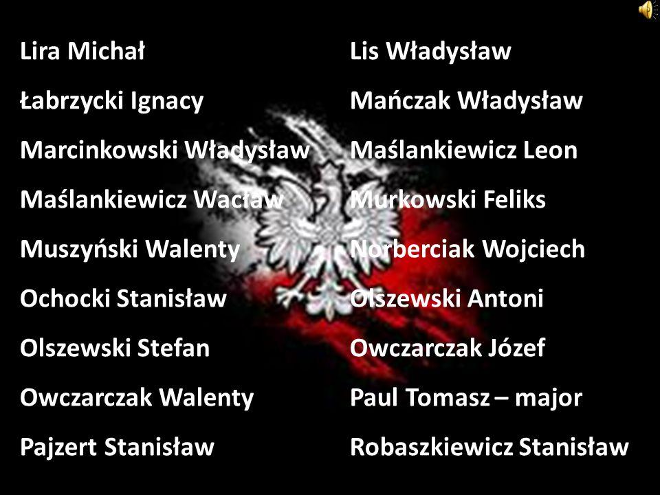 Lira MichałLis Władysław Łabrzycki IgnacyMańczak Władysław Marcinkowski WładysławMaślankiewicz Leon Maślankiewicz WacławMurkowski Feliks Muszyński Wal
