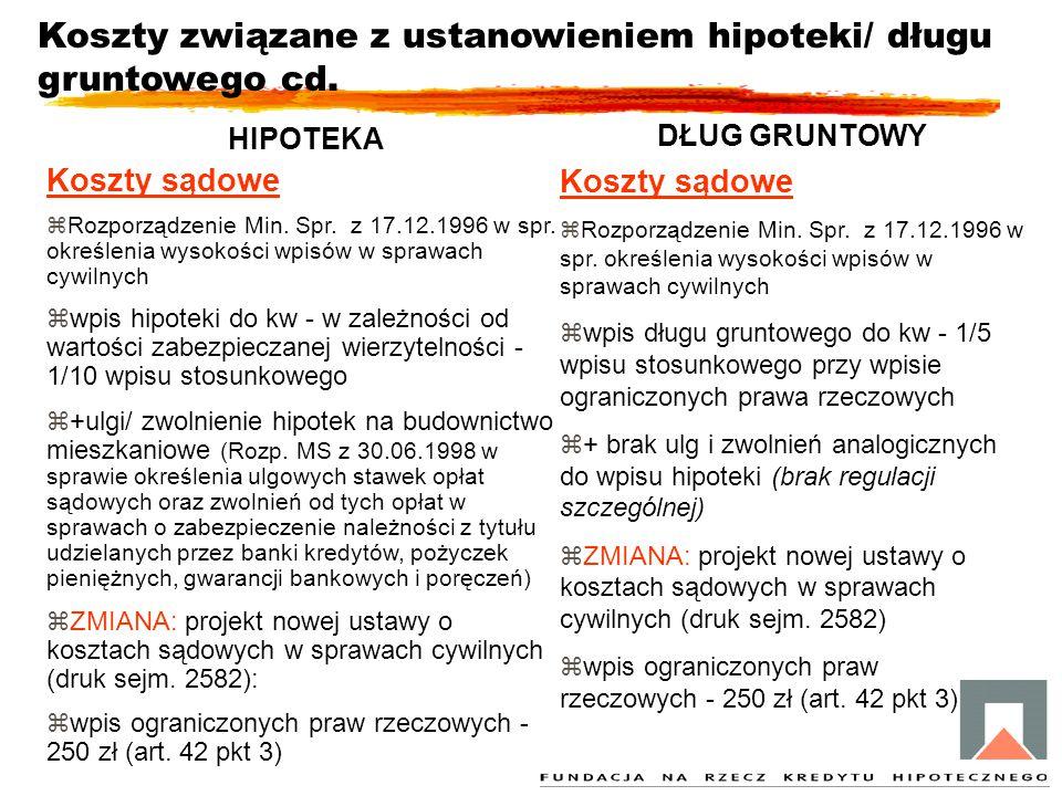 Koszty związane z ustanowieniem hipoteki/ długu gruntowego cd. HIPOTEKA Koszty sądowe zRozporządzenie Min. Spr. z 17.12.1996 w spr. określenia wysokoś