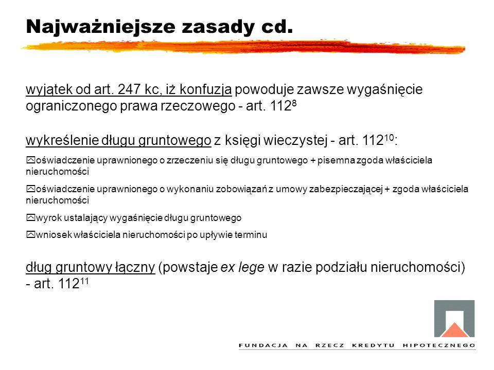 Najważniejsze zasady cd. wyjątek od art. 247 kc, iż konfuzja powoduje zawsze wygaśnięcie ograniczonego prawa rzeczowego - art. 112 8 wykreślenie długu