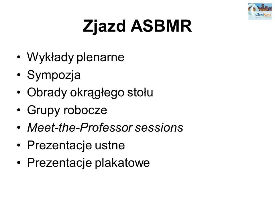 Zjazd ASBMR Wykłady plenarne Sympozja Obrady okrągłego stołu Grupy robocze Meet-the-Professor sessions Prezentacje ustne Prezentacje plakatowe