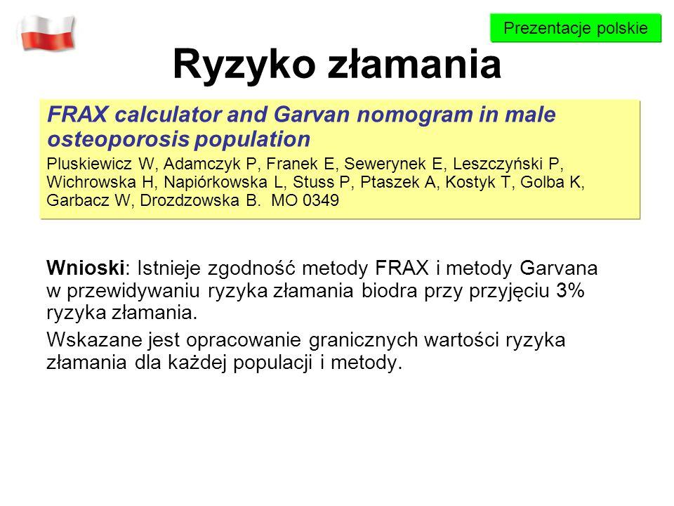Ryzyko złamania FRAX calculator and Garvan nomogram in male osteoporosis population Pluskiewicz W, Adamczyk P, Franek E, Sewerynek E, Leszczyński P, W