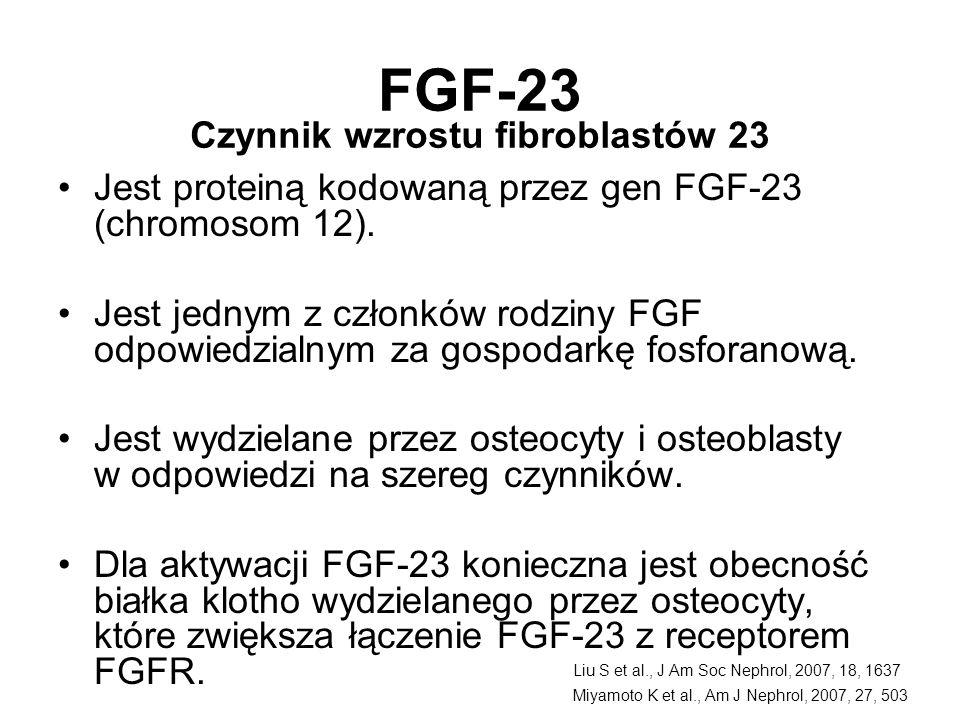 FGF-23 Jest proteiną kodowaną przez gen FGF-23 (chromosom 12). Jest jednym z członków rodziny FGF odpowiedzialnym za gospodarkę fosforanową. Jest wydz