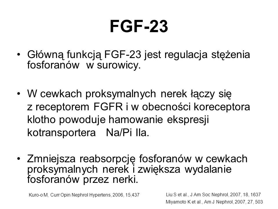 FGF-23 Główną funkcją FGF-23 jest regulacja stężenia fosforanów w surowicy. W cewkach proksymalnych nerek łączy się z receptorem FGFR i w obecności ko