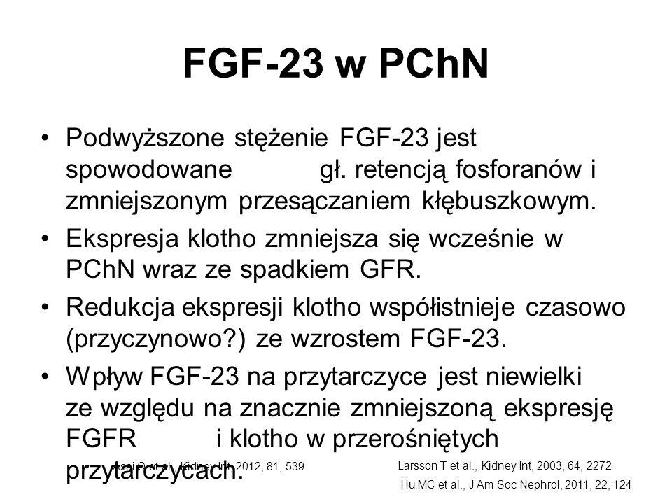 FGF-23 w PChN Podwyższone stężenie FGF-23 jest spowodowane gł. retencją fosforanów i zmniejszonym przesączaniem kłębuszkowym. Ekspresja klotho zmniejs