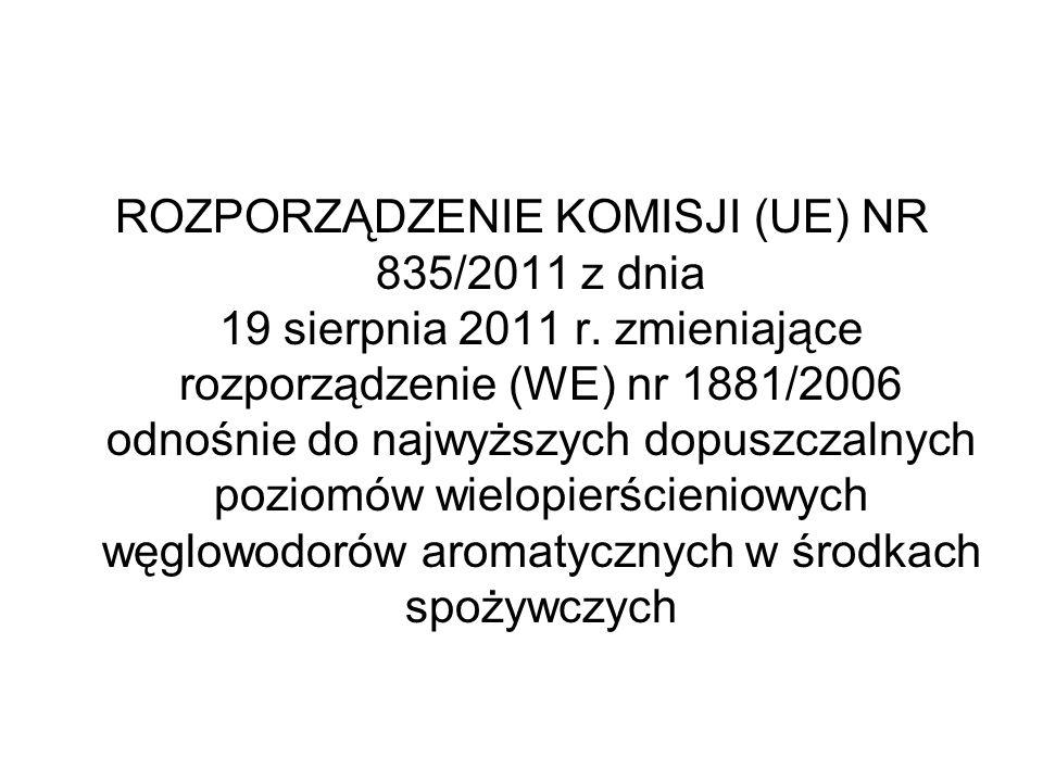ROZPORZĄDZENIE KOMISJI (UE) NR 835/2011 z dnia 19 sierpnia 2011 r. zmieniające rozporządzenie (WE) nr 1881/2006 odnośnie do najwyższych dopuszczalnych