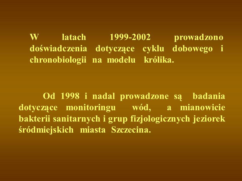 W latach 1999-2002 prowadzono doświadczenia dotyczące cyklu dobowego i chronobiologii na modelu królika.