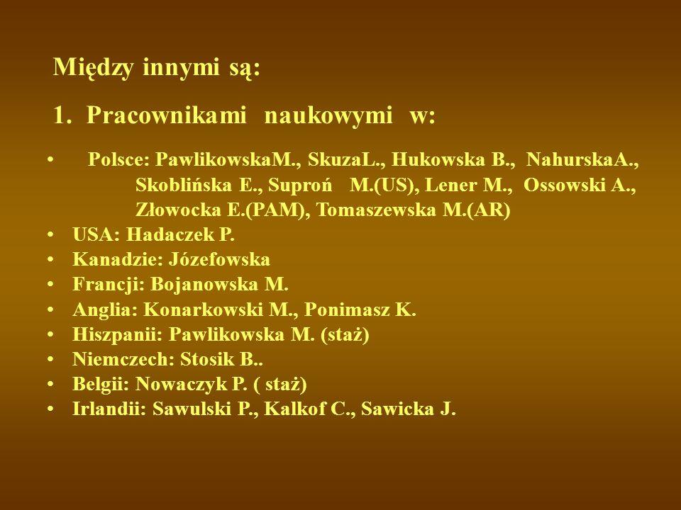 Między innymi są: Polsce: PawlikowskaM., SkuzaL., Hukowska B., NahurskaA., Skoblińska E., Suproń M.(US), Lener M., Ossowski A., Złowocka E.(PAM), Tomaszewska M.(AR) USA: Hadaczek P.