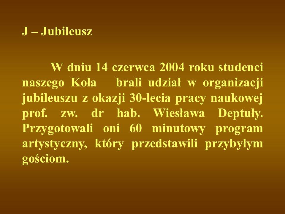 W dniu 14 czerwca 2004 roku studenci naszego Koła brali udział w organizacji jubileuszu z okazji 30-lecia pracy naukowej prof. zw. dr hab. Wiesława De