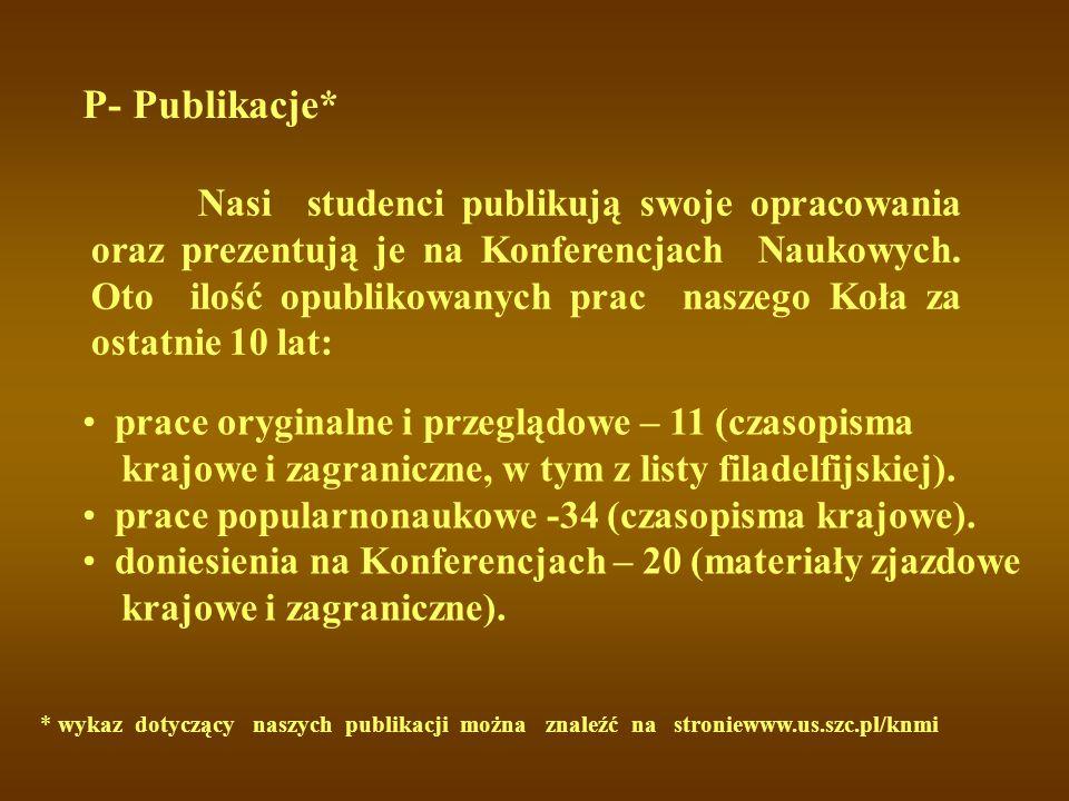 P- Publikacje* Nasi studenci publikują swoje opracowania oraz prezentują je na Konferencjach Naukowych. Oto ilość opublikowanych prac naszego Koła za