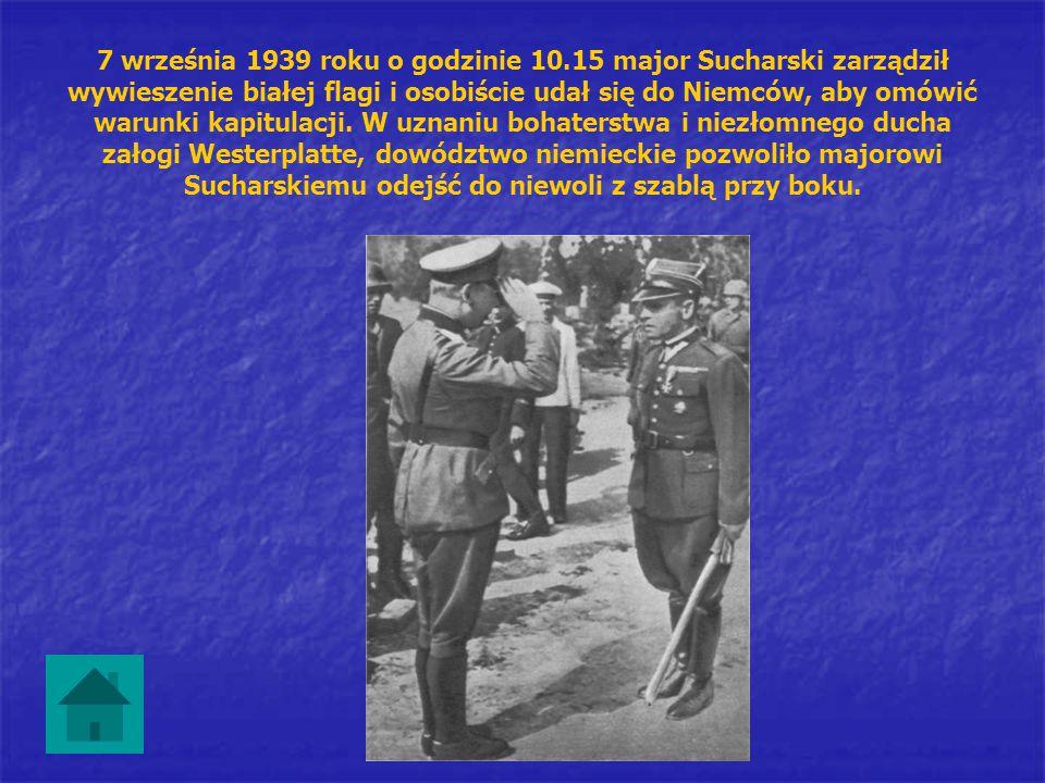 7 września 1939 roku o godzinie 10.15 major Sucharski zarządził wywieszenie białej flagi i osobiście udał się do Niemców, aby omówić warunki kapitulac