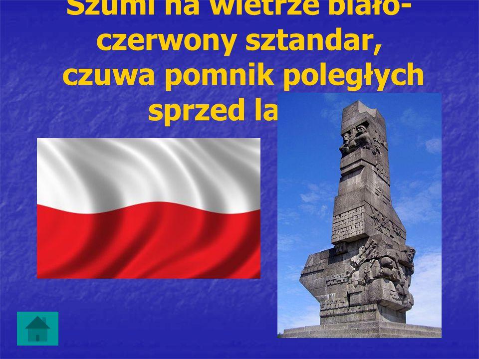 Szumi na wietrze biało- czerwony sztandar, czuwa pomnik poległych sprzed lat …