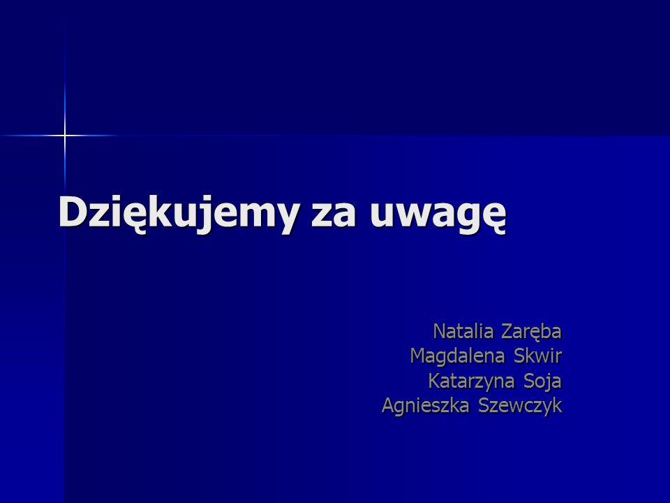 Dziękujemy za uwagę Natalia Zaręba Magdalena Skwir Katarzyna Soja Agnieszka Szewczyk