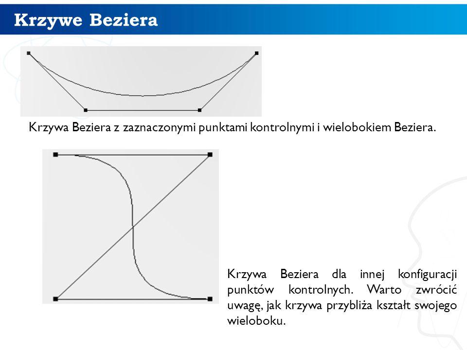 Krzywe Beziera Krzywa Beziera z zaznaczonymi punktami kontrolnymi i wielobokiem Beziera. 13 Krzywa Beziera dla innej konfiguracji punktów kontrolnych.