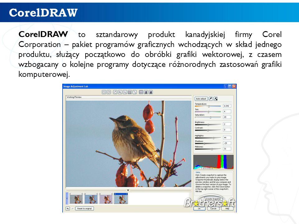 CorelDRAW CorelDRAW to sztandarowy produkt kanadyjskiej firmy Corel Corporation – pakiet programów graficznych wchodzących w skład jednego produktu, służący początkowo do obróbki grafiki wektorowej, z czasem wzbogacany o kolejne programy dotyczące różnorodnych zastosowań grafiki komputerowej.
