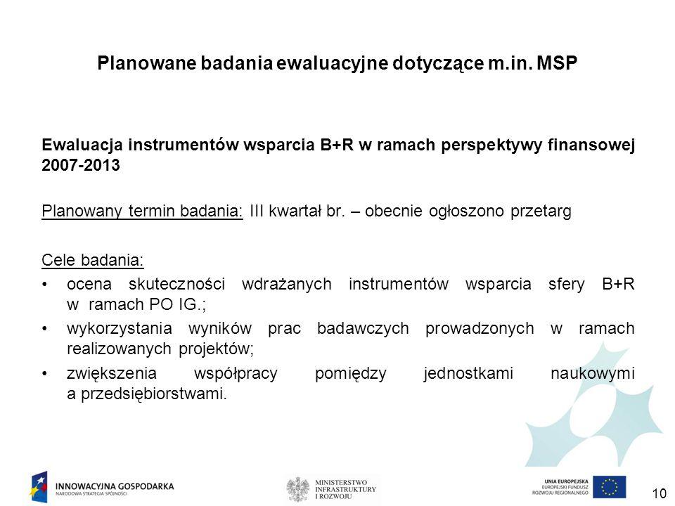 Planowane badania ewaluacyjne dotyczące m.in.