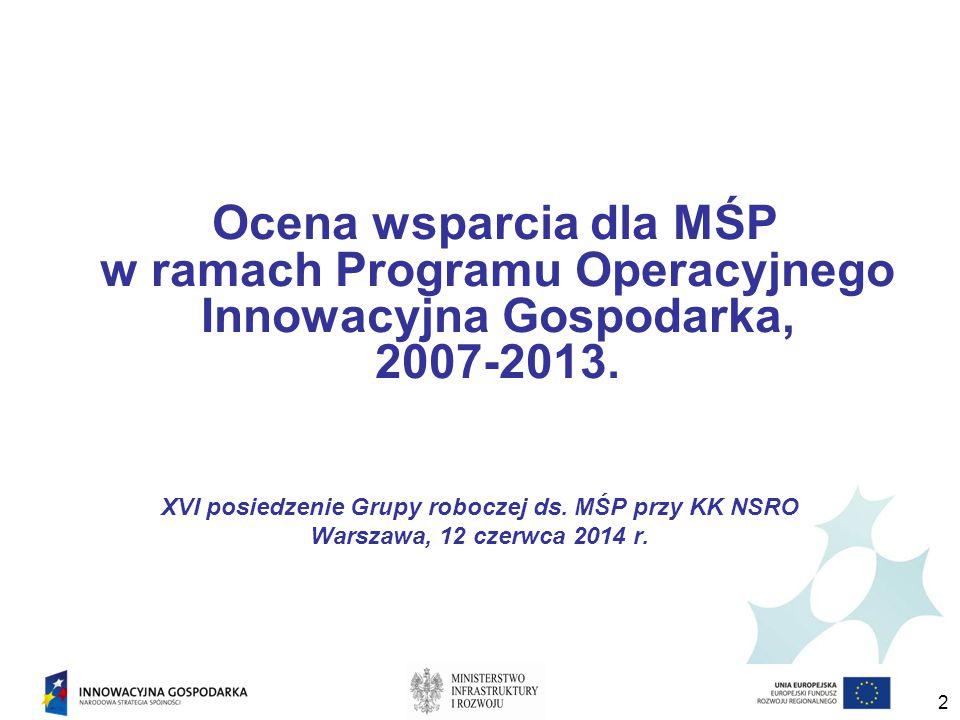 Ocena wsparcia dla MŚP w ramach Programu Operacyjnego Innowacyjna Gospodarka, 2007-2013.