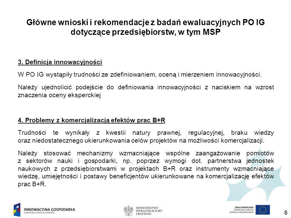 Główne wnioski i rekomendacje z badań ewaluacyjnych PO IG dotyczące przedsiębiorstw, w tym MSP 3.
