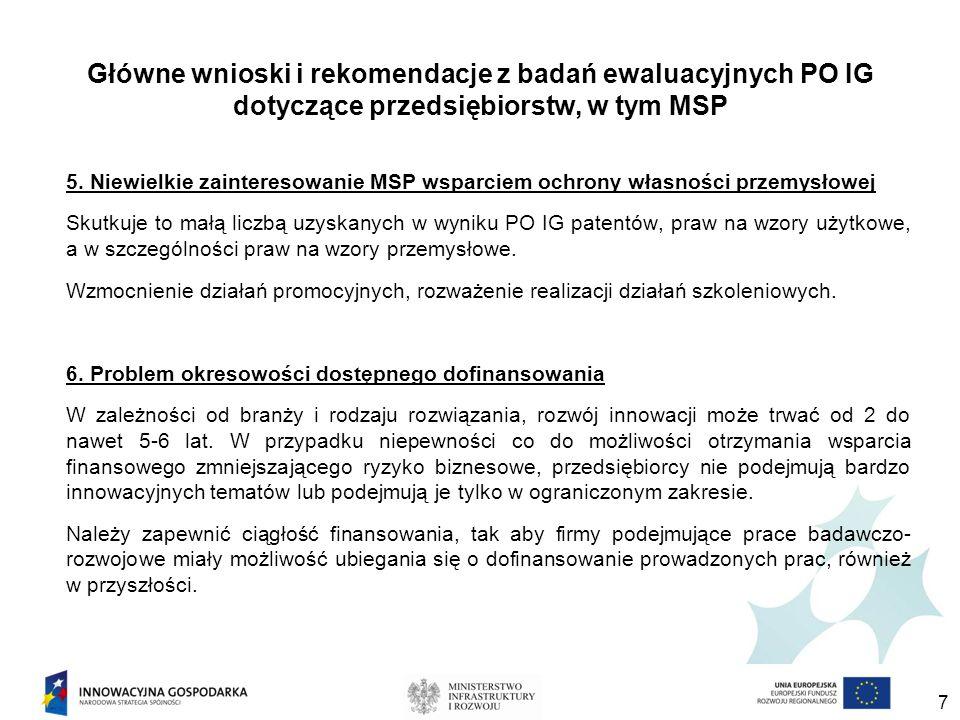 Główne wnioski i rekomendacje z badań ewaluacyjnych PO IG dotyczące przedsiębiorstw, w tym MSP 5.