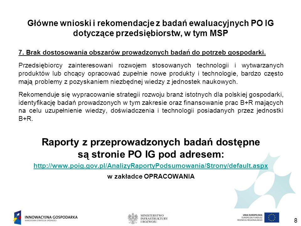 Główne wnioski i rekomendacje z badań ewaluacyjnych PO IG dotyczące przedsiębiorstw, w tym MSP 7.