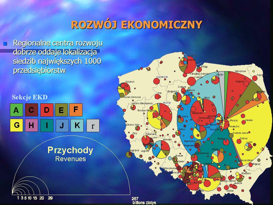 ROZWÓJ EKONOMICZNY n Regionalne centra rozwoju dobrze oddaje lokalizacja siedzib największych 1000 przedsiębiorstw r Sekcje EKD