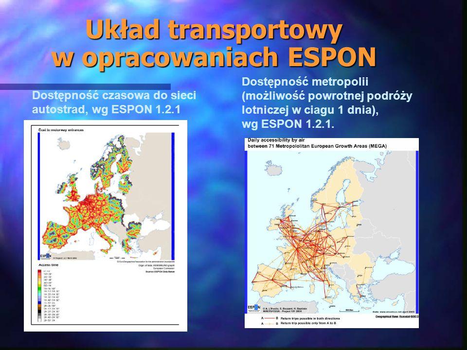 Układ transportowy w opracowaniach ESPON Dostępność czasowa do sieci autostrad, wg ESPON 1.2.1 Dostępność metropolii (możliwość powrotnej podróży lotniczej w ciagu 1 dnia), wg ESPON 1.2.1.