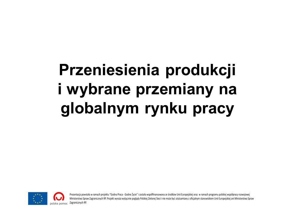 Przeniesienia produkcji i wybrane przemiany na globalnym rynku pracy