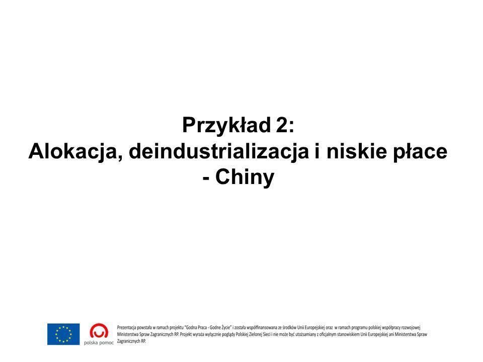 Przykład 2: Alokacja, deindustrializacja i niskie płace - Chiny