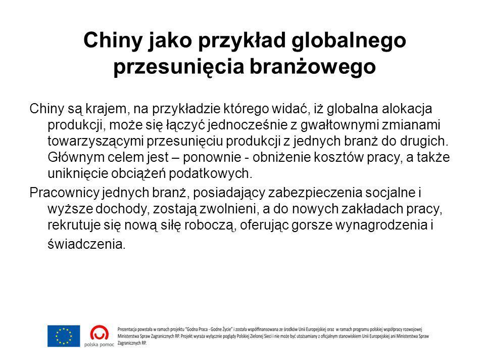 Chiny jako przykład globalnego przesunięcia branżowego Chiny są krajem, na przykładzie którego widać, iż globalna alokacja produkcji, może się łączyć jednocześnie z gwałtownymi zmianami towarzyszącymi przesunięciu produkcji z jednych branż do drugich.
