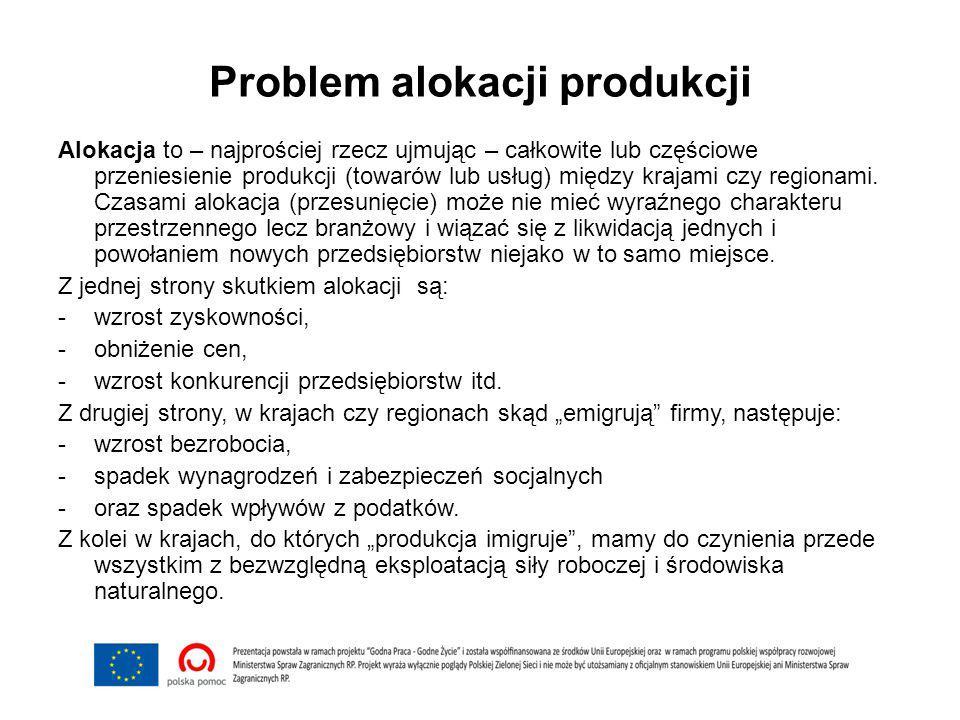 Problem alokacji produkcji Alokacja to – najprościej rzecz ujmując – całkowite lub częściowe przeniesienie produkcji (towarów lub usług) między krajami czy regionami.