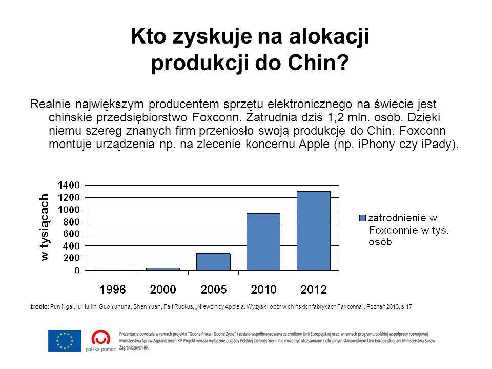 Kto zyskuje na alokacji produkcji do Chin? Realnie największym producentem sprzętu elektronicznego na świecie jest chińskie przedsiębiorstwo Foxconn.