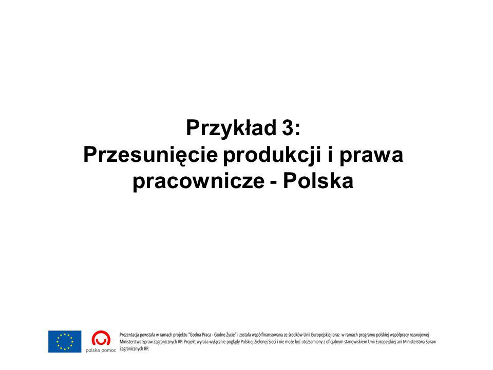 Przykład 3: Przesunięcie produkcji i prawa pracownicze - Polska