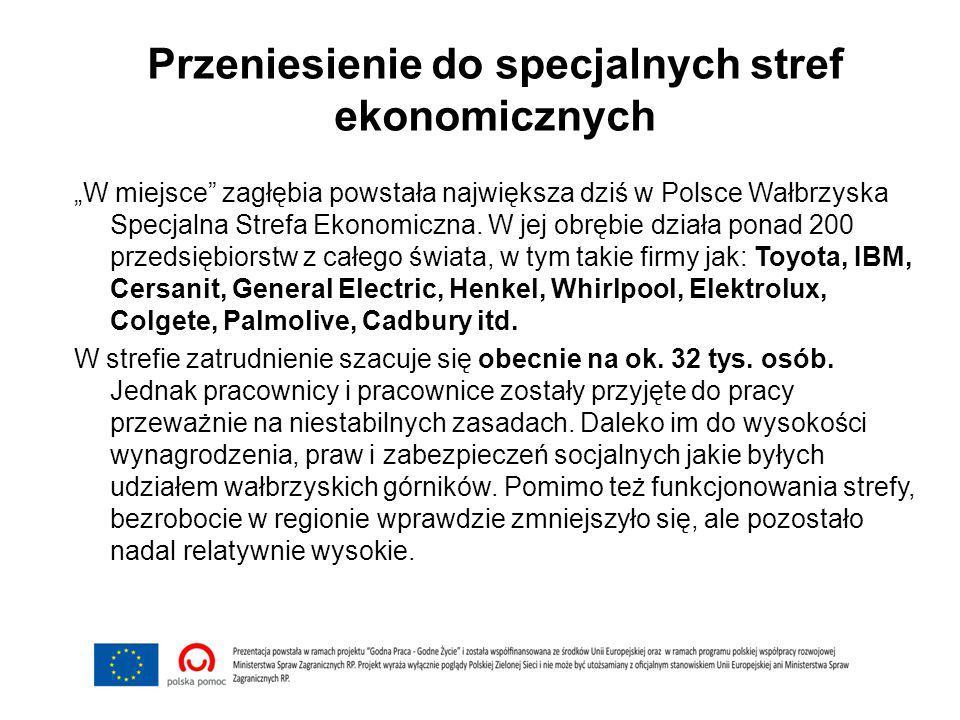 """Przeniesienie do specjalnych stref ekonomicznych """"W miejsce"""" zagłębia powstała największa dziś w Polsce Wałbrzyska Specjalna Strefa Ekonomiczna. W jej"""