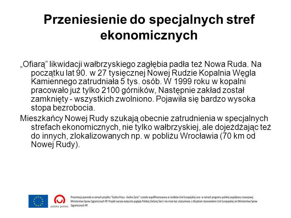"""Przeniesienie do specjalnych stref ekonomicznych """"Ofiarą"""" likwidacji wałbrzyskiego zagłębia padła też Nowa Ruda. Na początku lat 90. w 27 tysięcznej N"""