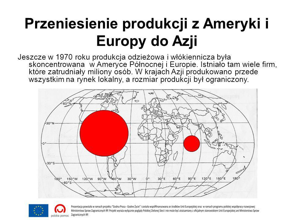 Przeniesienie produkcji z Ameryki i Europy do Azji Jeszcze w 1970 roku produkcja odzieżowa i włókiennicza była skoncentrowana w Ameryce Północnej i Europie.