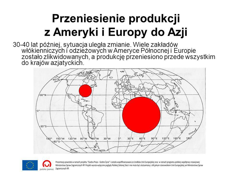 Przeniesienie produkcji z Ameryki i Europy do Azji 30-40 lat później, sytuacja uległa zmianie.