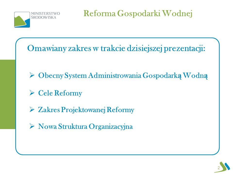 Reforma Gospodarki Wodnej 2  Obecny System Administrowania Gospodark ą Wodn ą  Cele Reformy  Zakres Projektowanej Reformy  Nowa Struktura Organizacyjna Omawiany zakres w trakcie dzisiejszej prezentacji: