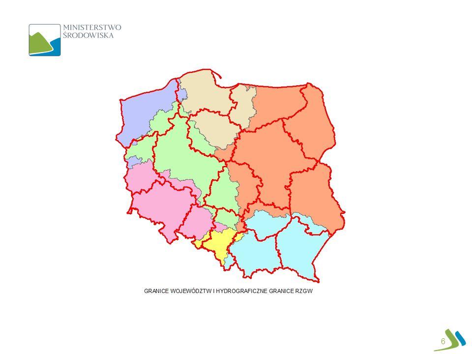 TRANSPOZYCJA PRAWA UE 17 Reforma gospodarki wodnej przyczyni się do poprawy warunków pełnej realizacji dyrektywy powodziowej i RDW Poprawa realizacji zadań wynikających z wdrożenia dyrektywy powodziowej Osiągniecie celów RDW: Zwrot kosztów za usługi wodne; poprawa potencjału wód Poprawa stanu wód