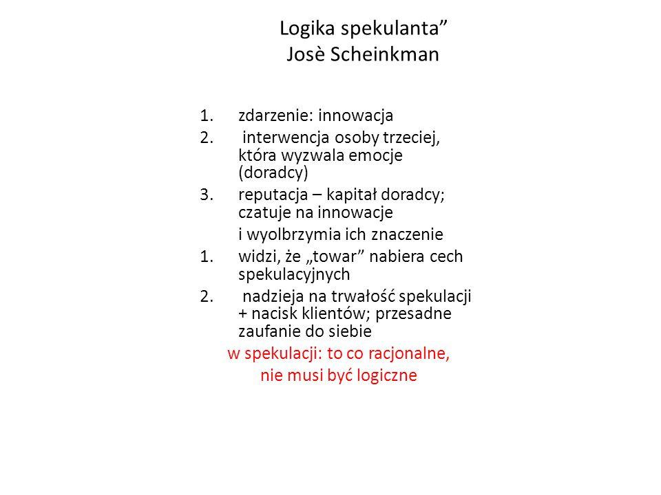 """Logika spekulanta Josè Scheinkman """"Logika spekulanta 1.zdarzenie: innowacja 2."""