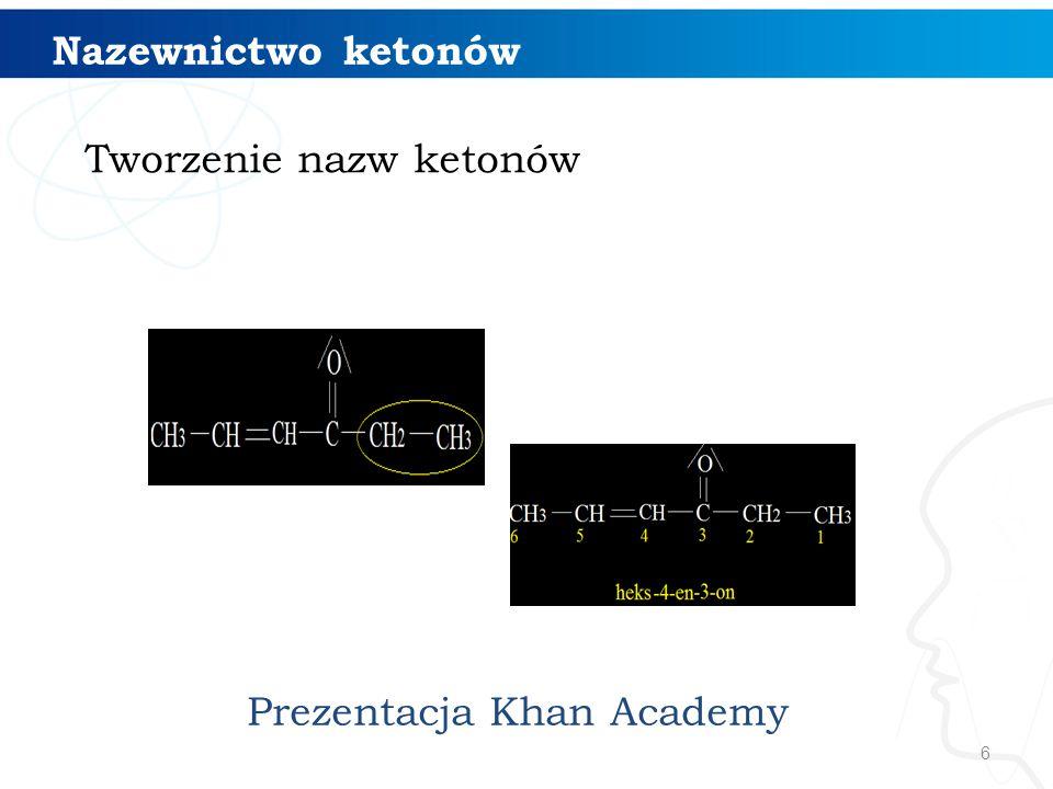 17 Otrzymywanie ketonów: 1.katalityczne utlenianie alkoholi II-rzędowych [O] H2OH2O propanon (aceton)