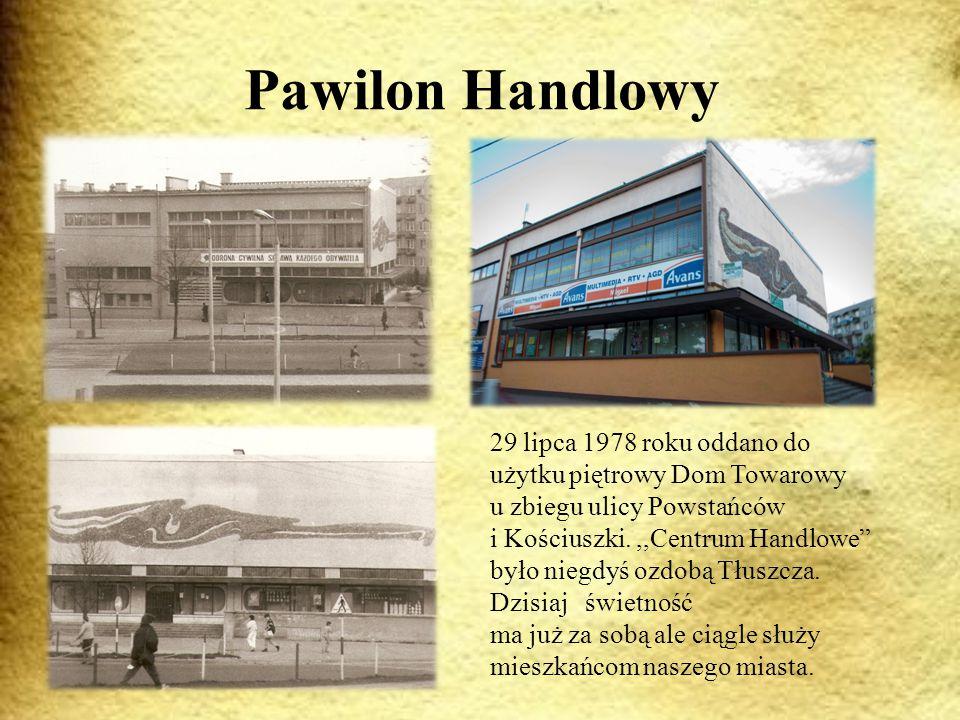 Pawilon Handlowy 29 lipca 1978 roku oddano do użytku piętrowy Dom Towarowy u zbiegu ulicy Powstańców i Kościuszki.,,Centrum Handlowe było niegdyś ozdobą Tłuszcza.