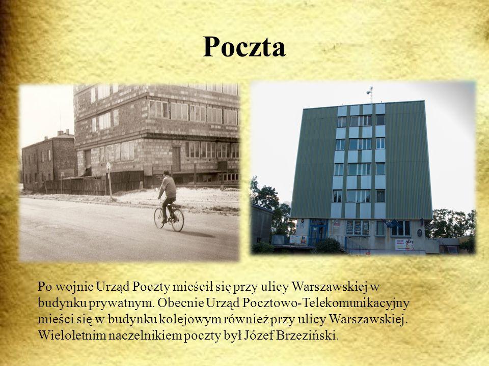 Poczta Po wojnie Urząd Poczty mieścił się przy ulicy Warszawskiej w budynku prywatnym.